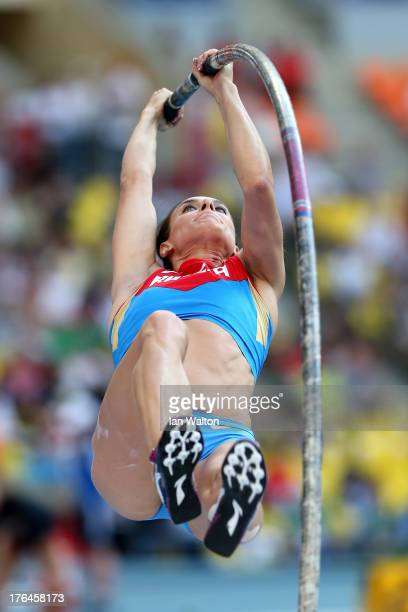 Elena Isinbaeva of Russia competes in the Women's pole vault final during Day Four of the 14th IAAF World Athletics Championships Moscow 2013 at...