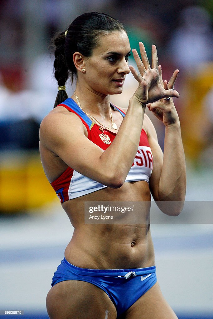 Elena Isinbaeva of Russia gestures during the women's Pole Vault Final during day three of the 12th IAAF World Athletics Championships at the Olympic Stadium on August 17, 2009 in Berlin, Germany.