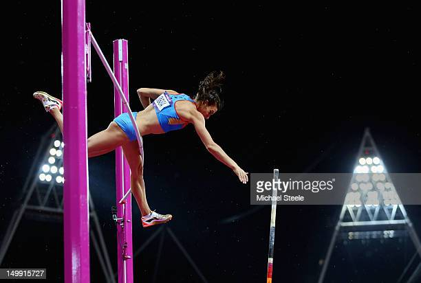 Elena Isinbaeva of Russia misses a vault in the Women's Pole Vault final on Day 10 of the London 2012 Olympic Games at the Olympic Stadium on August...