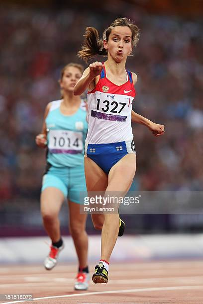 Elena Ivanova of Russia crosses the line to win gold in the Women's 100m T36 Final on day 10 of the London 2012 Paralympic Games at Olympic Stadium...