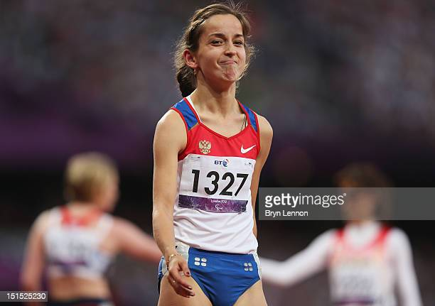 Elena Ivanova of Russia smiles as she wins gold in the Women's 100m T36 Final on day 10 of the London 2012 Paralympic Games at Olympic Stadium on...