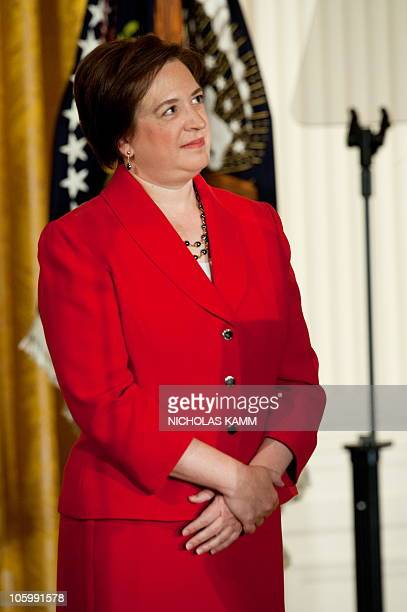Elena Kagan looks at US President Obama speak at a reception marking her confirmation to the Supreme Court in the East Room of the White House in...