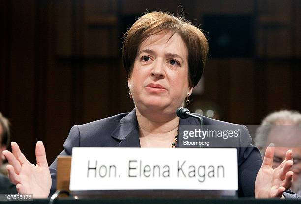 Elena Kagan, nominee for the U.S. Supreme Court, testifies on the second day of her confirmation hearing by the Senate Judiciary Committee in...