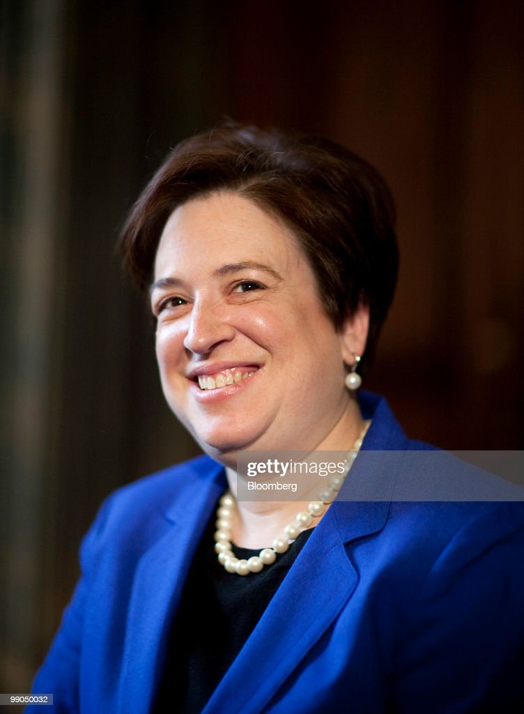 Elena Kagan, U.S. solicitor general and Supreme Court nominee, smiles during a meeting with Senator Harry Reid, a Democrat from Nevada, in Washington, D.C., U.S., on Wednesday, May 12, 2010. Kagan is on Capitol Hill in her first day of meetings with senators who will vote on her confirmation. Photographer: Joshua Roberts/Bloomberg via Getty Images