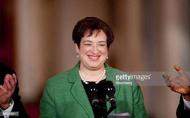 Elena Kagan, U.S. Solicitor general, smiles after being introduced by U.S. President Barack Obama in the East Room of the White House in Washington,...