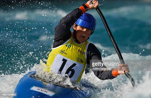 Elena Kaliska of Slovakia in action in the Women's Kayak at Lee Valley White Water Centre on June 6 2014 in London England
