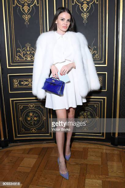 Elena Kiritchenko attends the Ulyana Sergeenko Presentation as part of Paris Fashion Week Haute Couture Spring Summer 2018 show as part of Paris...