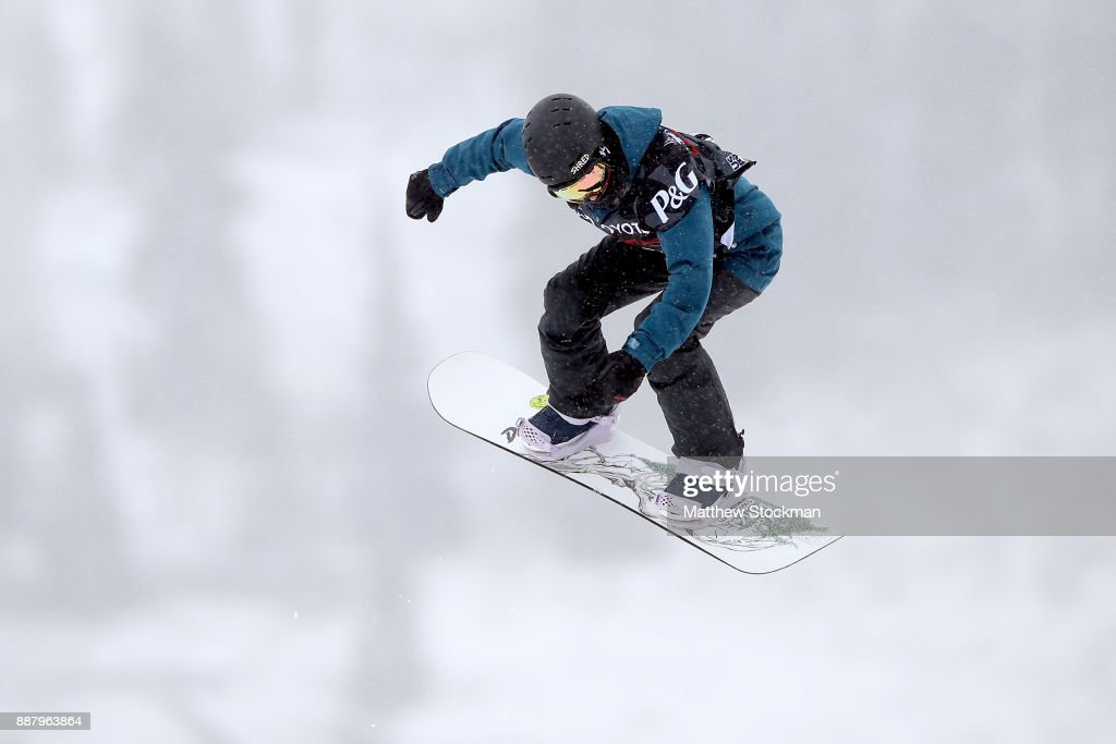 Elena Koenz #16 trains for the FIS World Cup 2018 Ladies Snowboard Big Air during the Toyota U.S. Grand Prix on December 7, 2017 in Copper Mountain, Colorado.