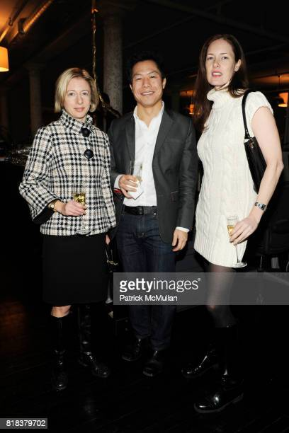 Elena Kornbluth Roy Kim and Nelyora Kramer attend WILLIAM SOFIELD Hosts a Rare Evening of Finery Furniture Friends at 380 Lafayette on February 11...