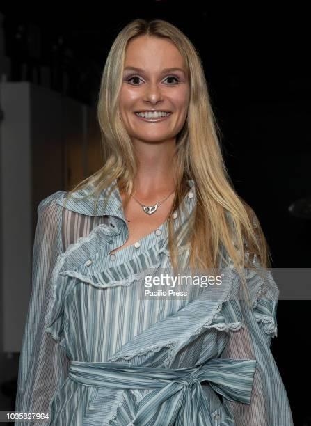 Elena Kurnosova wearing dress by Zimmermann attends premiere of Assassination Nation at Metrograph