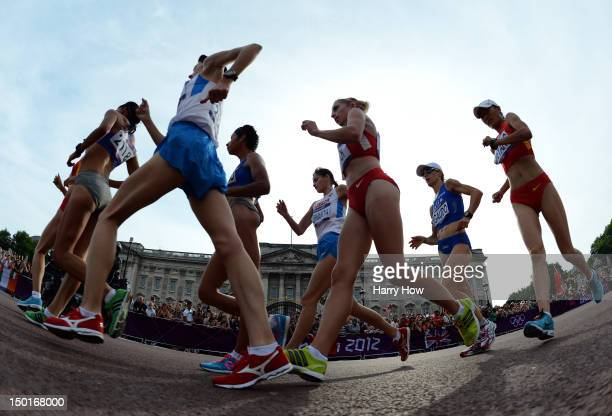 Elena Lashmanova of Russia competes to a gold medal during the Women's 20km Walk final on Day 15 of the London 2012 Olympic Games on the streets of...