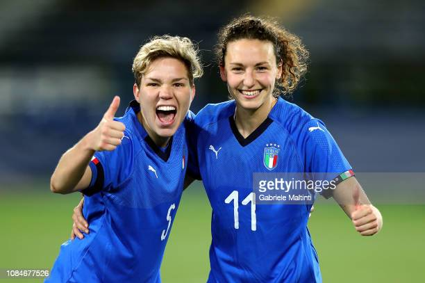 Elena Linari and Ilaria Mauro of Italy Women celebrates the victory after during the International Friendly match between Italy Women and Chile Women...