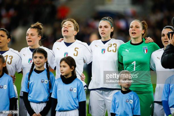 Elena Linari Cecilia Salvai and Laura Giuliani of Italy during the International friendly match between France and Italy at Stade Velodrome on...