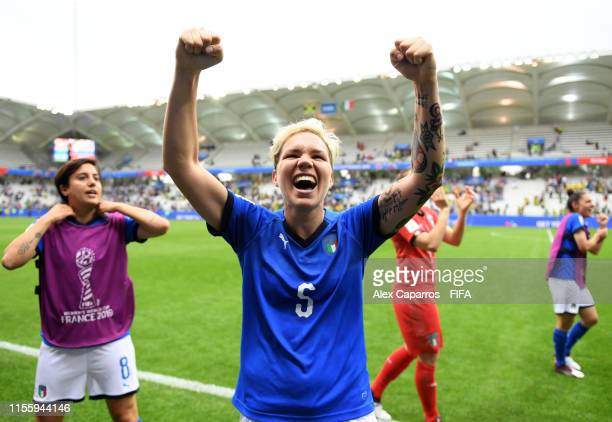 Elena Linari of Italy celebrates following her sides victory in the 2019 FIFA Women's World Cup France group C match between Jamaica and Italy at...