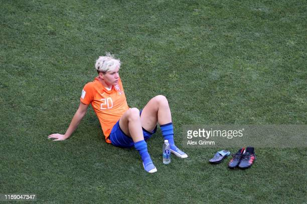 Elena Linari of Italy looks dejected as she sits on the pitch after the 2019 FIFA Women's World Cup France Quarter Final match between Italy and...