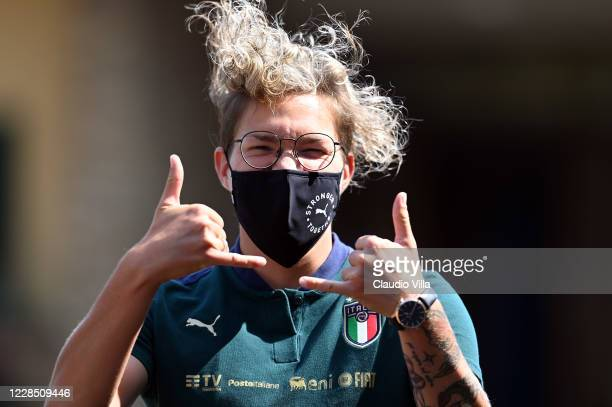 Elena Linari of Italy reacts before the press conference at Centro Tecnico Federale di Coverciano on September 14, 2020 in Florence, Italy.