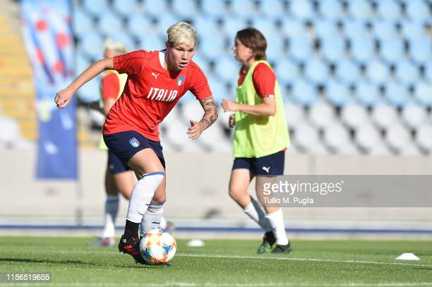 Elena Linari of Italy Women in action during a training session at Stadium Lille Metropole on June 17, 2019 in in Villeneuve d'Ascq near Lille,...