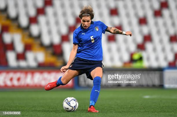 Elena Linari of Italy Women in action during the FIFA Women's World Cup 2023 Qualifier group G match between Italy and Moldova at Stadio Nereo Rocco...