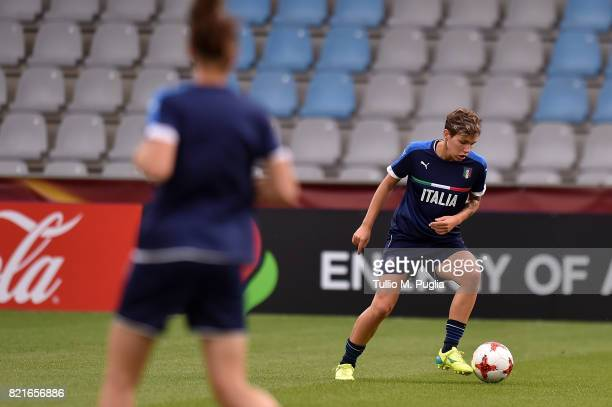 Elena Linari of Italy women's national football team takes part in a training session during the UEFA Women's Euro 2017 at De Vijverberg stadium on...