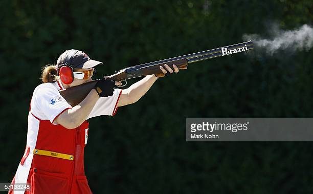 Elena Little of England in action during the Womens Skeet Pairs clay target shooting at the Melbourne Gun Club during day five of the Melbourne 2006...