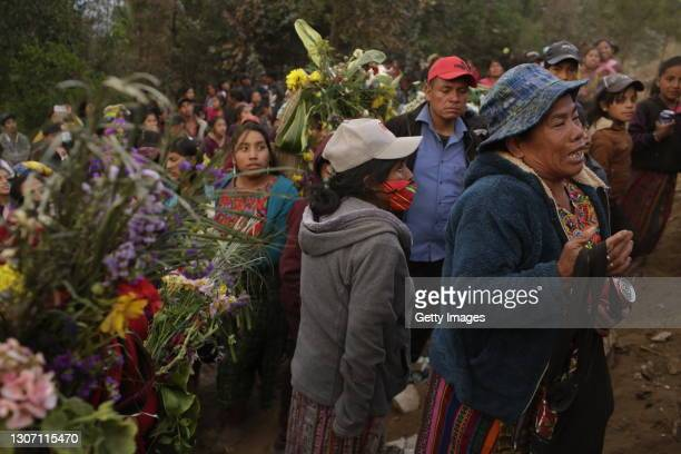 Elena Marroquin Lopez, 60 years old, grandmother of Rivaldo Danilo Jimenez during the burial at the community cemetery on March 14, 2021 in...