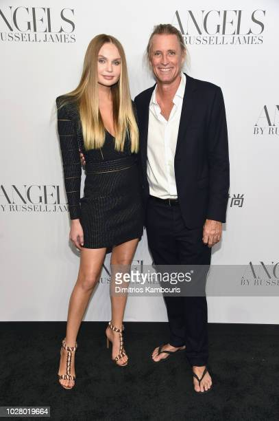 Elena Matei and Russell James attend the ANGELS by Russell James book launch and exhibit hosted by Cindy Crawford and Candice Swanepoel at Stephan...