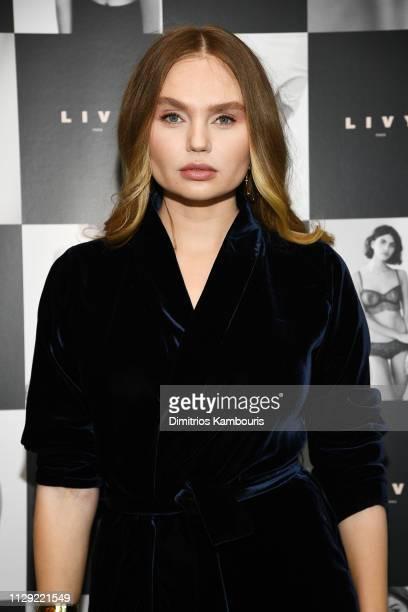 Elena Matei attends as Angel Sara Sampaio designer Lisa Chavy introduce LIVY at Landmarc West Broadway on February 12 2019 in New York City