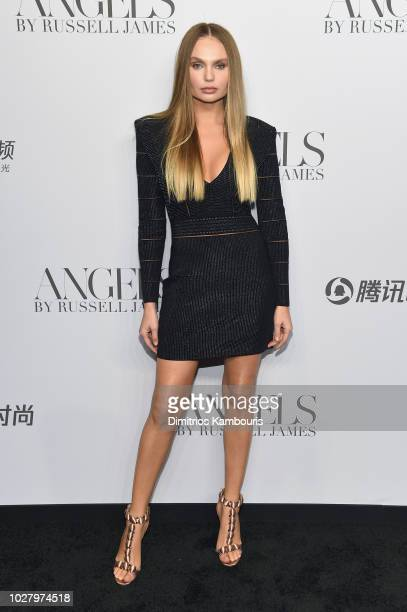 Elena Matei attends the ANGELS by Russell James book launch and exhibit hosted by Cindy Crawford and Candice Swanepoel at Stephan Weiss Studio on...