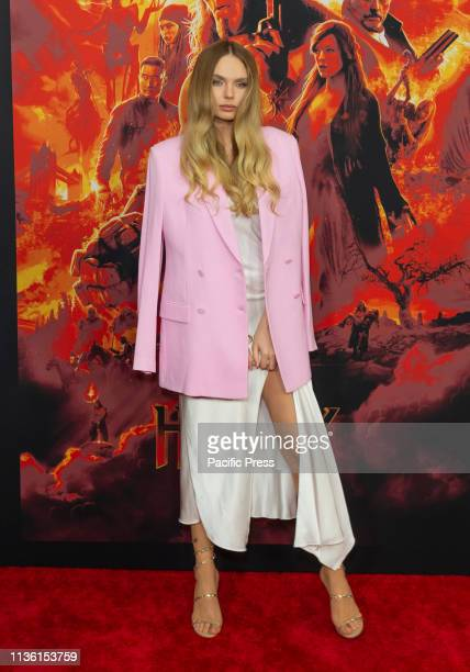 Elena Matei attends the Hellboy New York Screening at AMC Lincoln Square Theater
