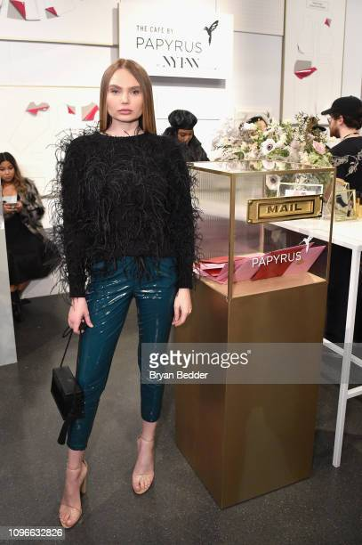Elena Matei visits The Café by Papyrus during New York Fashion Week The Shows at Spring Studios on February 9 2019 in New York City