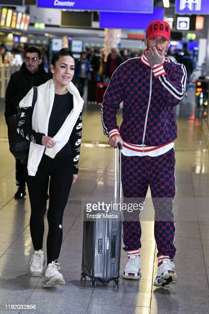 Elena Miras and her boyfriend Mike Heiter leave for RTL TV show 'I'm a celebrity- Get Me Out Of Here!' in Australia at Frankfurt International...