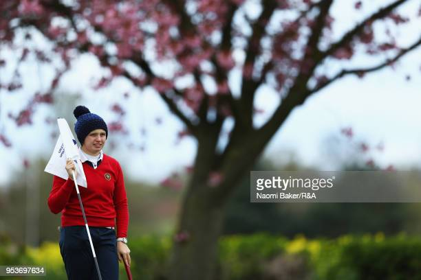 Elena Moosmann looks on on the 2nd green during the final round of the Girls' U16 Open Championship at Fulford Golf Club on April 29 2018 in York...