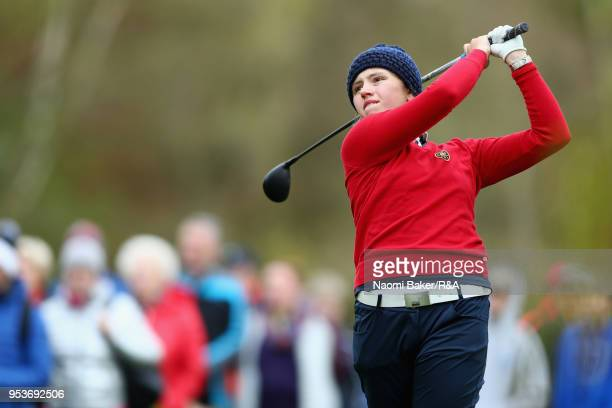 Elena Moosmann of Switzerland takes her shot off the 5th tee during the final round of the Girls' U16 Open Championship at Fulford Golf Club on April...