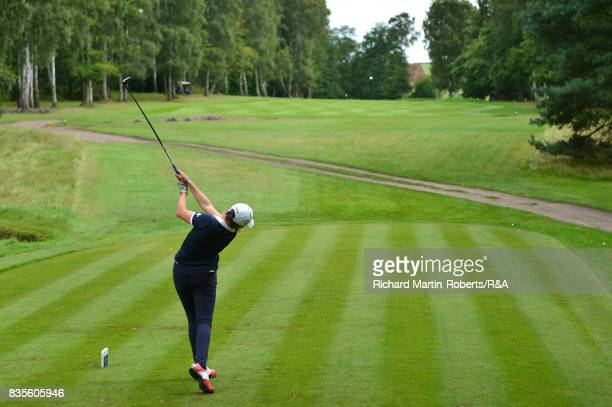 Elena Moosmann of Switzerland tees off during her semifinal match against Emilie Overas of Norway during the Girls' British Open Amateur Championship...