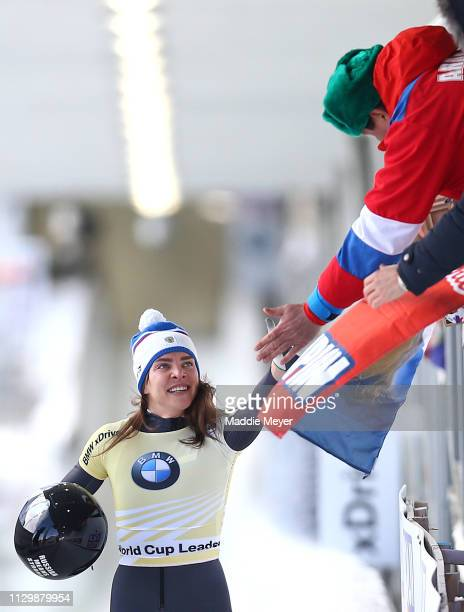 Elena Nikitina of Russia celebrates after her second run of the the Skeleton competition on day 1 of the 2019 IBSF World Cup Bobsled Skeleton at the...