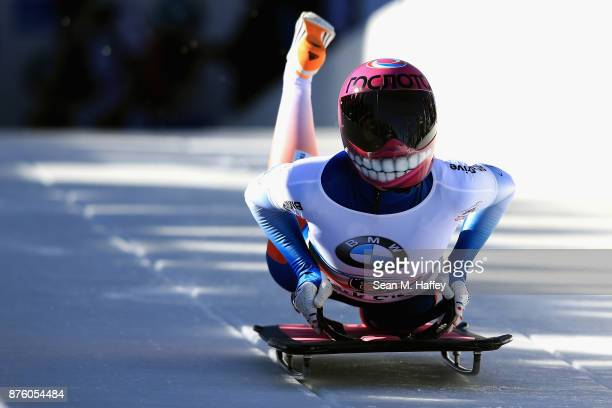 Elena Nikitina of Russia compete in the Women's Skeleton during the BMW IBSF Bobsleigh and Skeleton World Cup at Utah Olympic Park on November 18...
