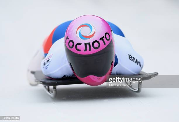Elena Nikitina of Russia competes during the Women's Skeleton first run of the BMW IBSF World Cup at Olympiabobbahn Igls on February 3 2017 in...
