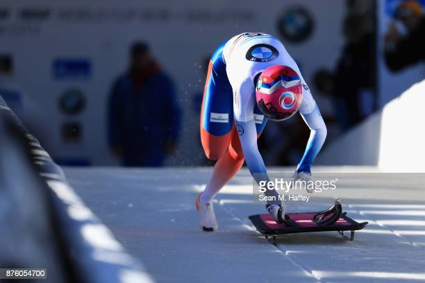 Elena Nikitina of Russia competes in the Women's Skeleton during the BMW IBSF Bobsleigh and Skeleton World Cup at Utah Olympic Park on November 18...