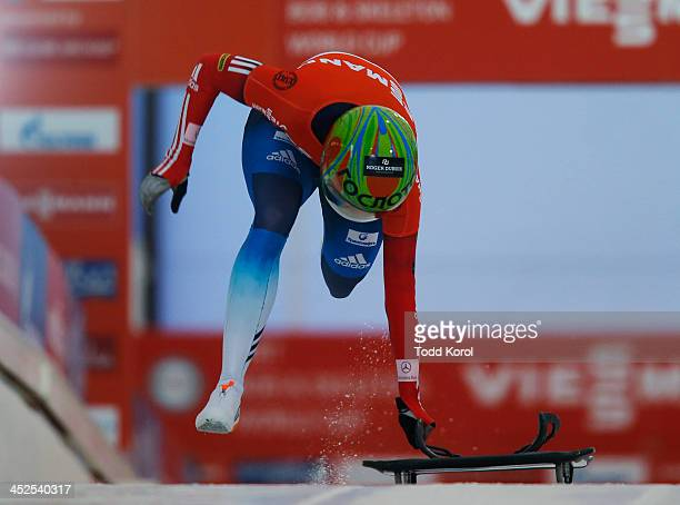 Elena Nikitina of Russia competes in the women's skeleton race during the 2013 IBSF World Cup race November 29, 2013 in Calgary, Alberta, Canada.