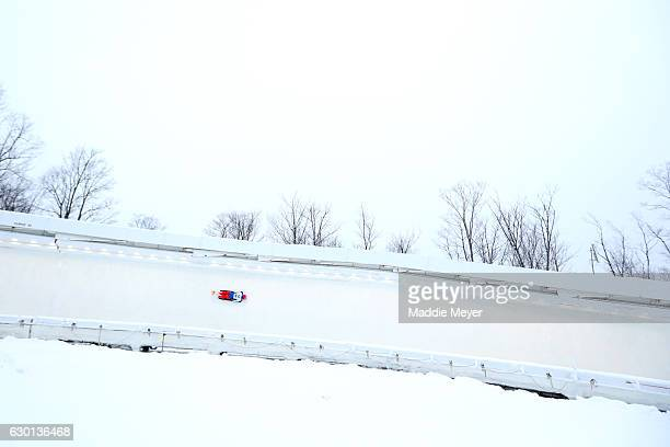 Elena Nikitina of Russia completes her first run during day 2 of the 2017 IBSF World Cup Bobsled Skeleton at Lake Placid Olympic Center on December...
