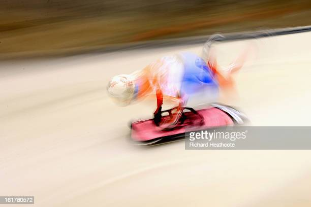 Elena Nikitina of Russia launches herself down the track during the Women's Skeleton Viessman FIBT Bob & Skeleton World Cup at the Sanki Sliding...