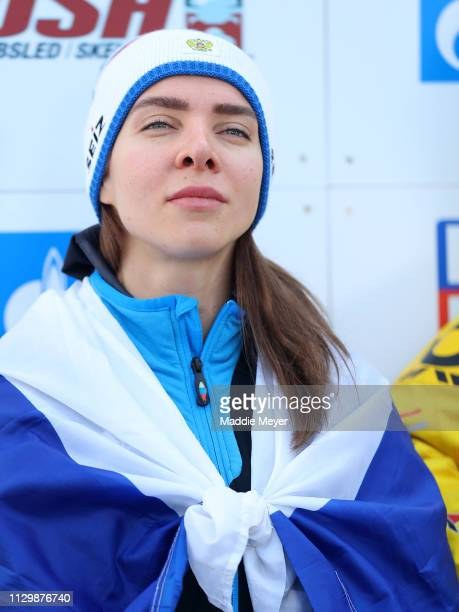 Elena Nikitina of Russia looks on after the second run of the the Skeleton competition on day 1 of the 2019 IBSF World Cup Bobsled Skeleton at the...