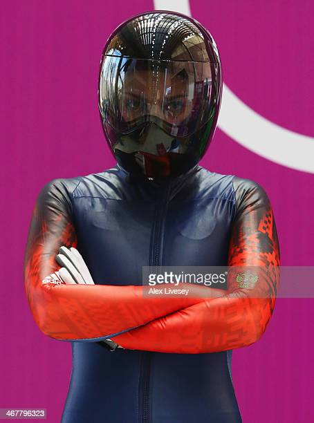 Elena Nikitina of Russia prepares to make a run during a Women's Skeleton training session on Day 1 of the Sochi 2014 Winter Olympics at the Sanki...
