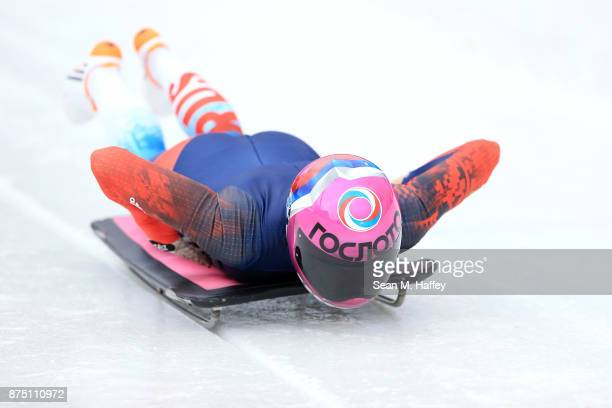 Elena Nikitina of Russia takes a training run in the Women's Skeleton during the BMW IBSF Bobsleigh + Skeleton World Cup at Utah Olympic Park...
