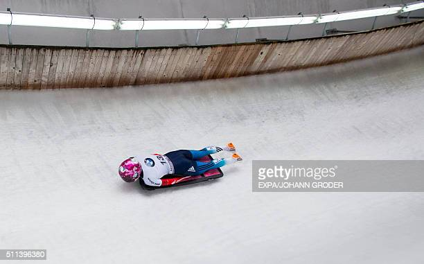 Elena Nikitina of Russian Federation competes during Ladie's Skeleton 3rd run of Bobsleigh and Skeleton World Championships in Innsbruck, Igls,...