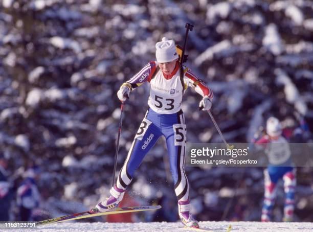 Elena Ogurtsova representing the Ukraine in the women's 15 kilometre individual biathlon event during the 1994 Winter Olympics at the Birkebeineren...