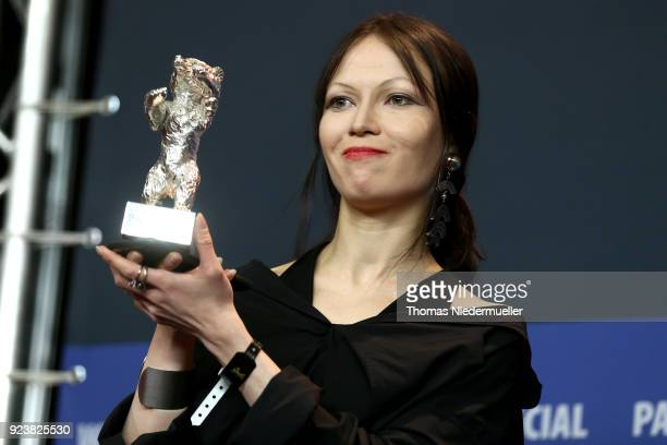 Elena Okopnaya winner of the Silver Bear for an Outstanding Artistic Contribution for 'Dovlatov' is seen at the Award Winners press conference during...