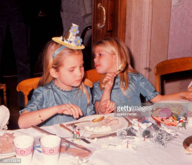Elena on the day of his birthday with her sister Cristina in the Palacio de la Zarzuela Palace 21th December 1971 Madrid Spain
