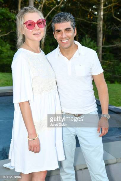 Elena Osipova and Alon Hoshamand attend a popup art exhibit by Castle Fitzjohns Gallery Sponsored by THE AVIGDOR / PENKOVA TEAM at Douglas Elliman at...