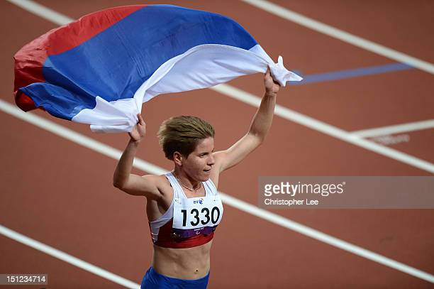 Elena Pautova of Russia wins gold in the Women's 1500m T12 Finaon day 6 of the London 2012 Paralympic Games at Olympic Stadium on September 4 2012 in...